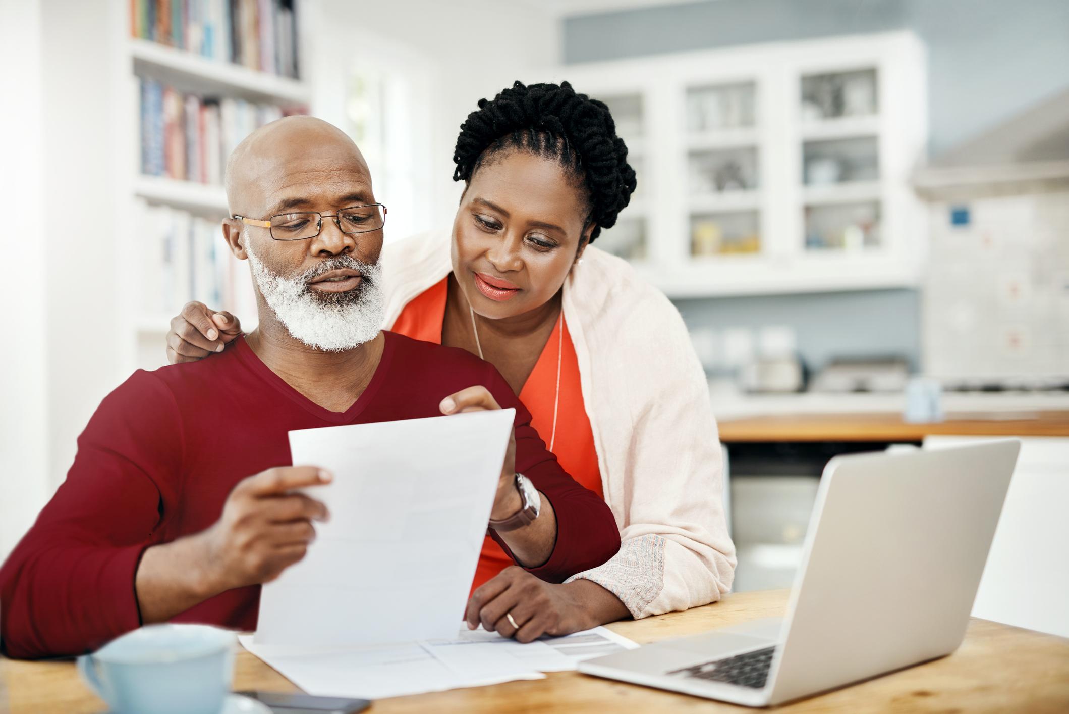 Couple looking over paperwork